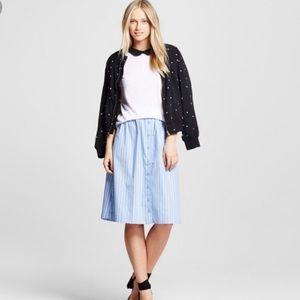 Everly Blue and White Striped Button Down Skirt
